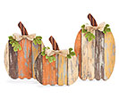DECOUPAGED WOOD PLANK PUMPKIN TRIO