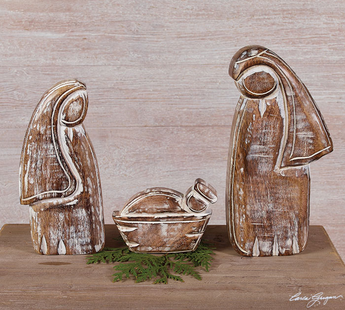 3 PIECE WOOD HOLY FAMILY NATIVITY