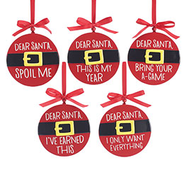 DEAR SANTA WOOD DISC ORNAMENT SET