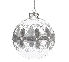 GRAY FLORAL ON CLEAR GLASS ORNAMENT