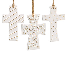 CERAMIC WHITE/GOLD CROSS ORNAMENT SET