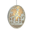 LIGHT UP PAPERBOARD HOLY FAMILY ORNAMENT