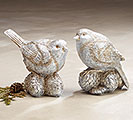 SILVER HAND-PAINTED RESIN BIRD PAIR