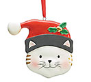 CERAMIC SANTA CAT ORNAMENT