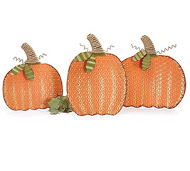 EASEL BACK TIN PUMPKIN WITH TWINE STEM