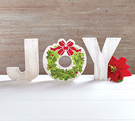 "HANDMADE HOLIDAY ""JOY"" SHELF SITTER"