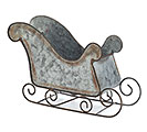 GALVANIZED TIN SLEIGH PLANTER
