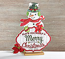 WOOD DECOUPAGE SNOWMAN DECOR