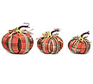ORANGE PLAID PUMPKIN DECOR SET