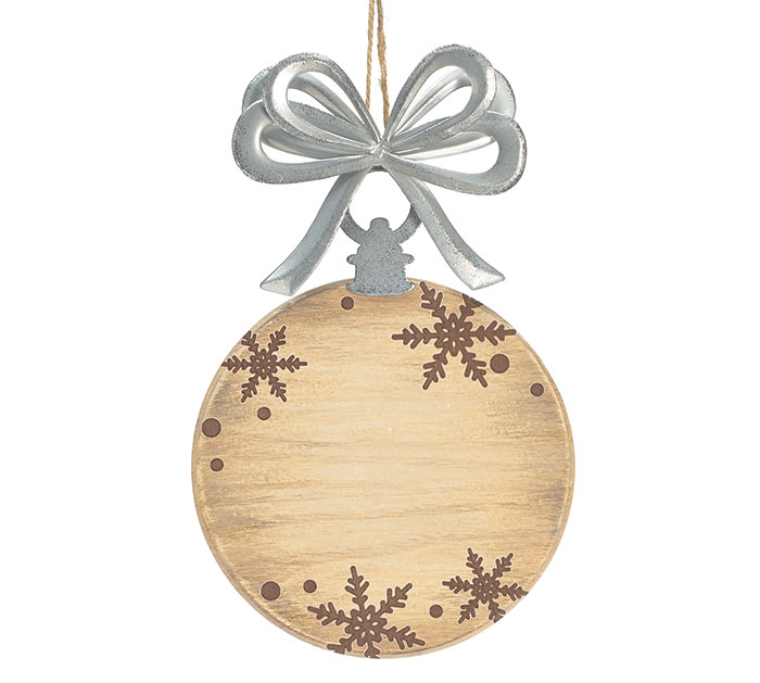 WOOD DISC AND TIN BLANK ORNAMENT SET