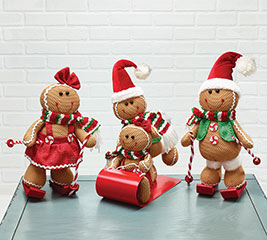 4 PIECE SNOW SPORTS GINGERBREAD FAMILY