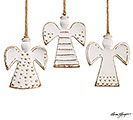 CERAMIC WHITE/GOLD ANGEL ORNAMENT SET
