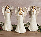 WOOD CARVED RESIN WHITE ANGEL TRIO