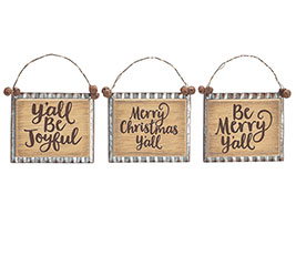 TIN/WOOD CHRISTMAS MESSAGES ORNAMENT SET