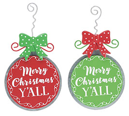 TIN MERRY CHRISTMAS Y'ALL ORNAMENT