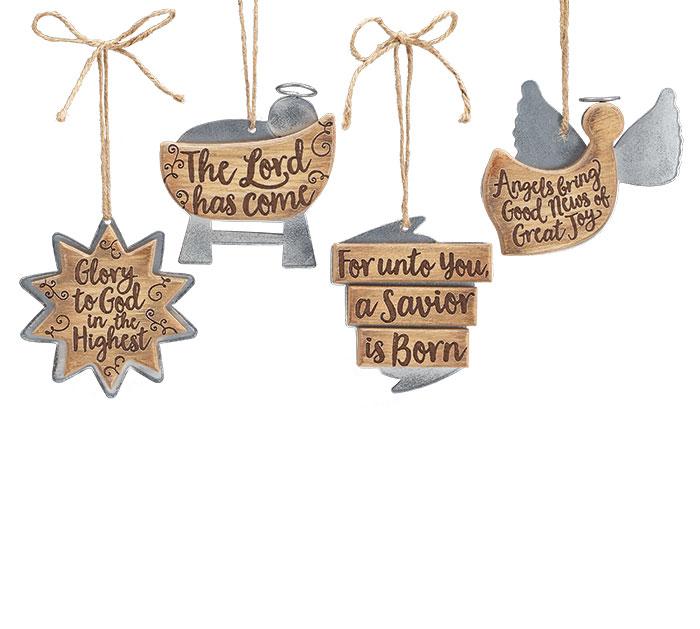 TIN/WOOD CHRISTMAS MESSAGES ORNAMENT SET