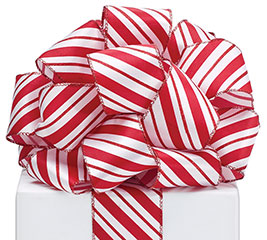 #40 CANDY CANE STRIPE WIRED RIBBON