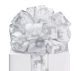 #40 SILVER DEER ON WHITE WIRED RIBBON