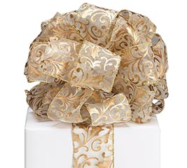 #40 GOLD HOLLY SPRAY SHEER WIRED RIBBON