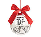 ONE CAT SHORT OF CRAZY CERAMIC ORNAMENT