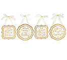WHITE/GOLD PLAQUE CHRISTMAS ORNAMENT SET
