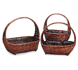 DARK STAIN BASKET SET WITH HANDLES