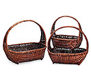 CASE BASKET WILLOW DARK STAIN NESTED SET