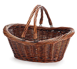 CASE BASKET WILLOW DARK STAIN FOLDING