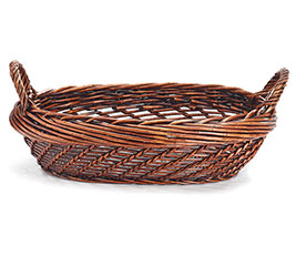 CASE BASKET WILLOW DARK STAIN WITH HANDL