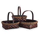 SPLITWOOD/SEAGRASS BASKET SET W/ HANDLES