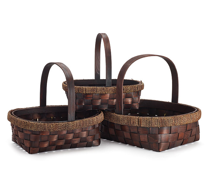 CASE BASKET DARK STAIN NESTED SET