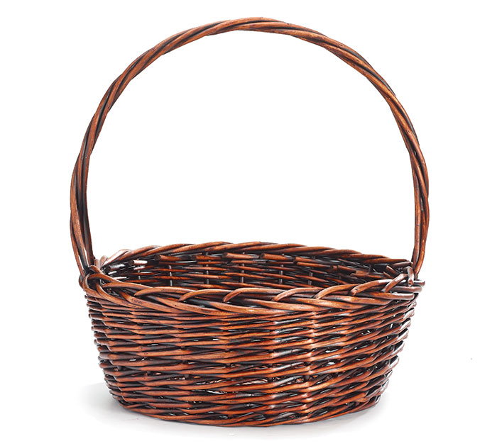"14"" DARK STAIN WILLOW BASKET WITH HANDLE"