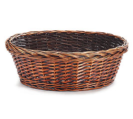 "16"" DARK STAIN ROUND WILLOW BASKET"