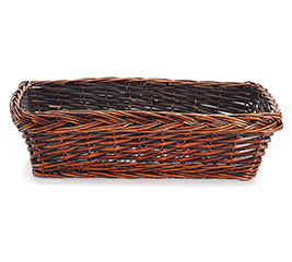 "19"" DARK STAIN RECTANGLE WILLOW BASKET"