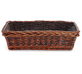 "20.5"" DARK STAIN RECTANGLE WILLOW BASKET"