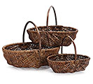 DARK OVAL WILLOW BASKET SET W/ HANDLES