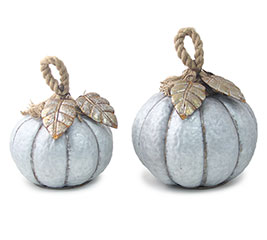 GALVANIZED TIN PUMPKINS W/ ROPE STEMS