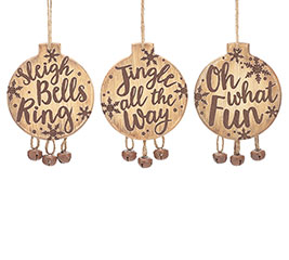 WOOD DISC/BELLS CHRISTMAS ORNAMENT SET