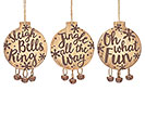 WOOD DISC/BELLS CHRISTMAS ORNAMENT SET