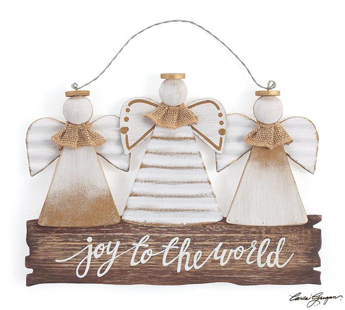 JOY TO THE WORLD ANGEL TRIO WALL HANGING
