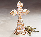 WHITE/GOLD EMBOSSED PORCELAIN CROSS