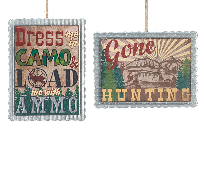 TIN HUNTING MESSAGES ORNAMENT SET