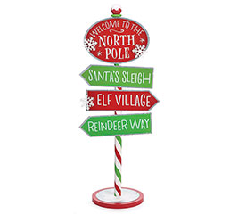 STANDING NORTH POLE DIRECTIONAL SIGN
