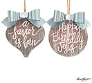 WOOD/TIN CHRISTMAS MESSAGE ORNAMENT SET