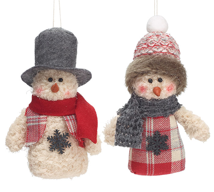12 PIECE SNOWMAN ORNAMENT SET WITH BOX