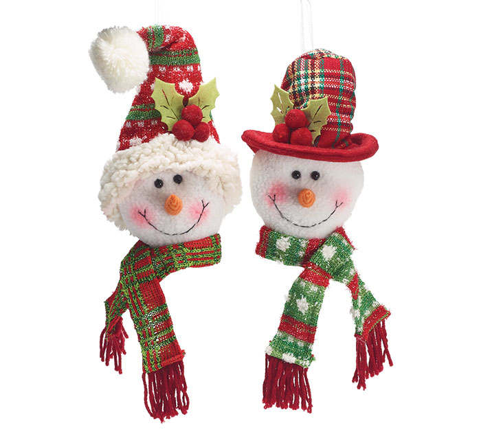12 PIECE SNOWMAN HEAD ORNAMENT SET