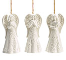 WHITE PROCELAIN ANGEL ORNAMENT SET