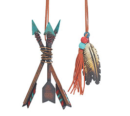 METAL INDIAN ARROW/FEATHER ORNAMENT SET