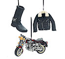 3 PIECE RESIN BIKER ORNAMENT SET