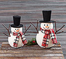 SNOWMAN WITH PLAID SCARF DECOR
